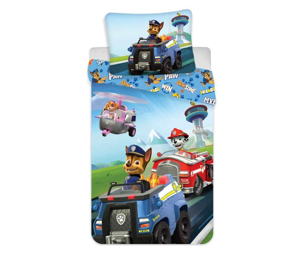 Set de pat Single Ranforce Paw Patrol PAW Patrol, bumbac ranforce, multicolor - PAW Patrol, Multicolor imagine
