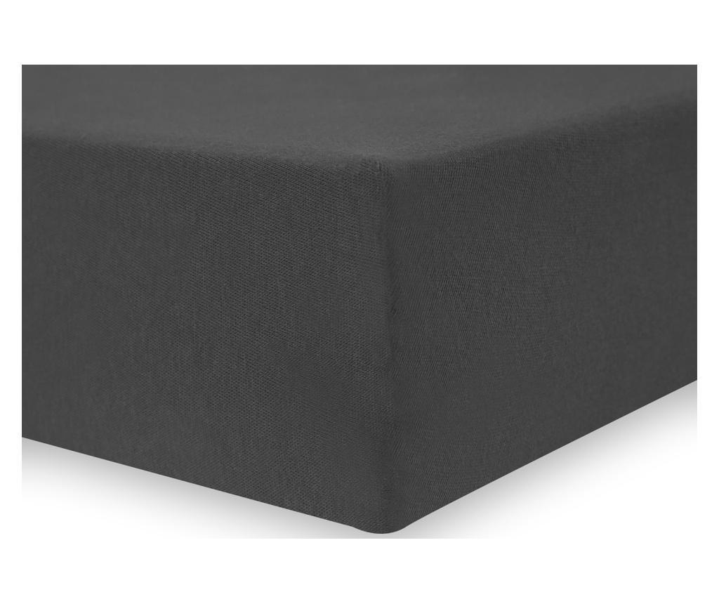 Cearsaf de pat cu elastic Amber 120x200 cm DecoKing, bumbac, gri - DecoKing, Gri & Argintiu imagine