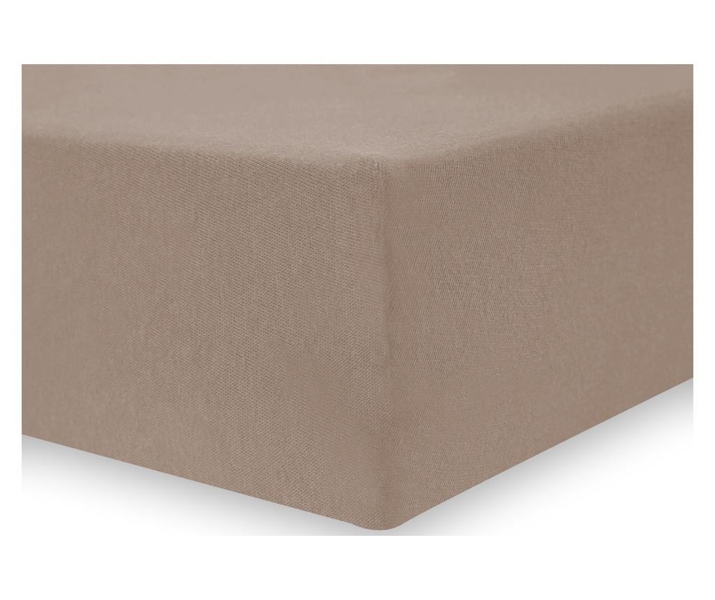 Cearsaf de pat cu elastic Amber 120x200 cm DecoKing, bumbac, maro cappuccino - DecoKing, Maro imagine