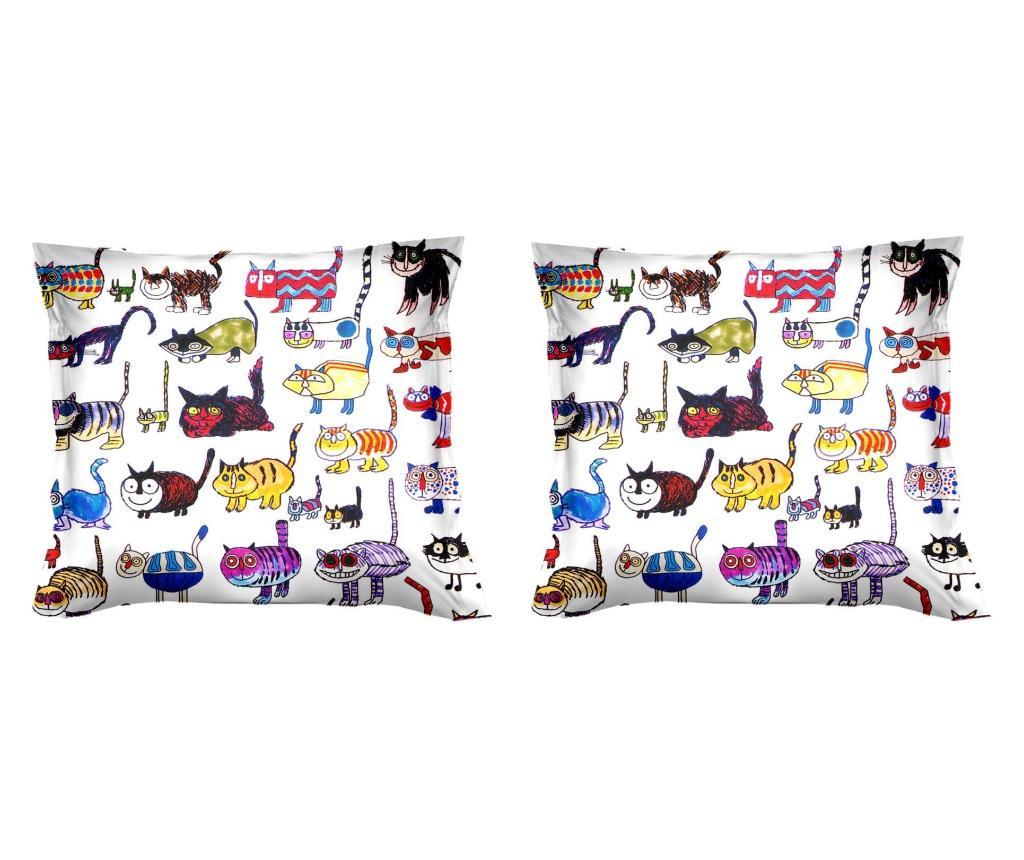 Set 2 fete de perna Gatti Matti 40x40 cm, Polo Ovest, bumbac, multicolor - Polo Ovest, Multicolor imagine vivre.ro
