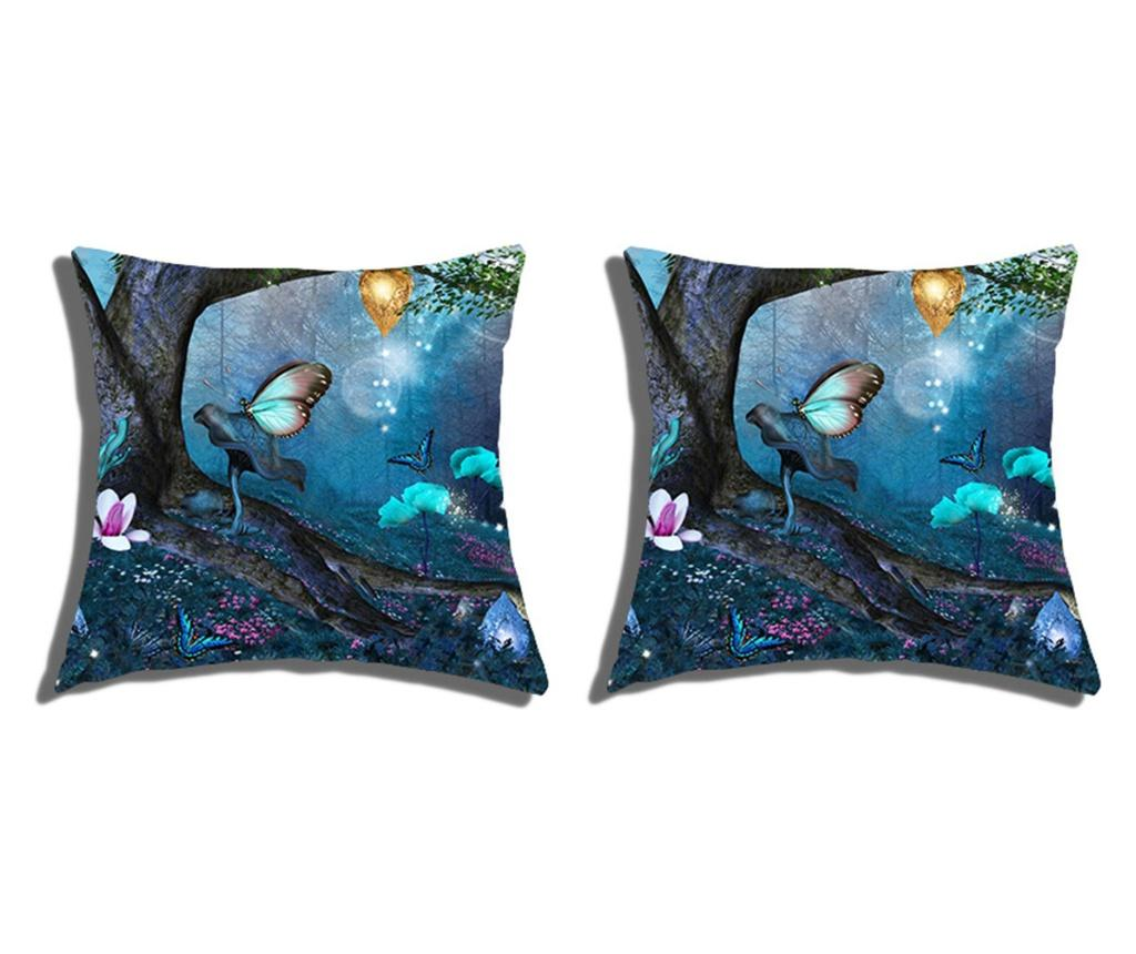 Set 2 fete de perna Fantasy Dreamland 40x40 cm, Polo Ovest, bumbac, multicolor - Polo Ovest, Albastru imagine