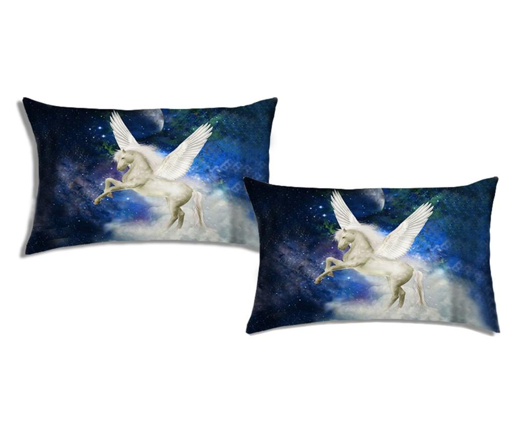 Set 2 fete de perna Fantasy Unicorn 50x80 cm, Polo Ovest, bumbac, multicolor - Polo Ovest, Albastru imagine