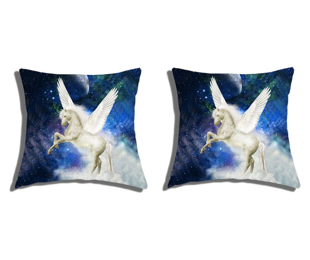 Set 2 fete de perna Fantasy Unicorn 40x40 cm, Polo Ovest, bumbac, multicolor - Polo Ovest, Albastru imagine