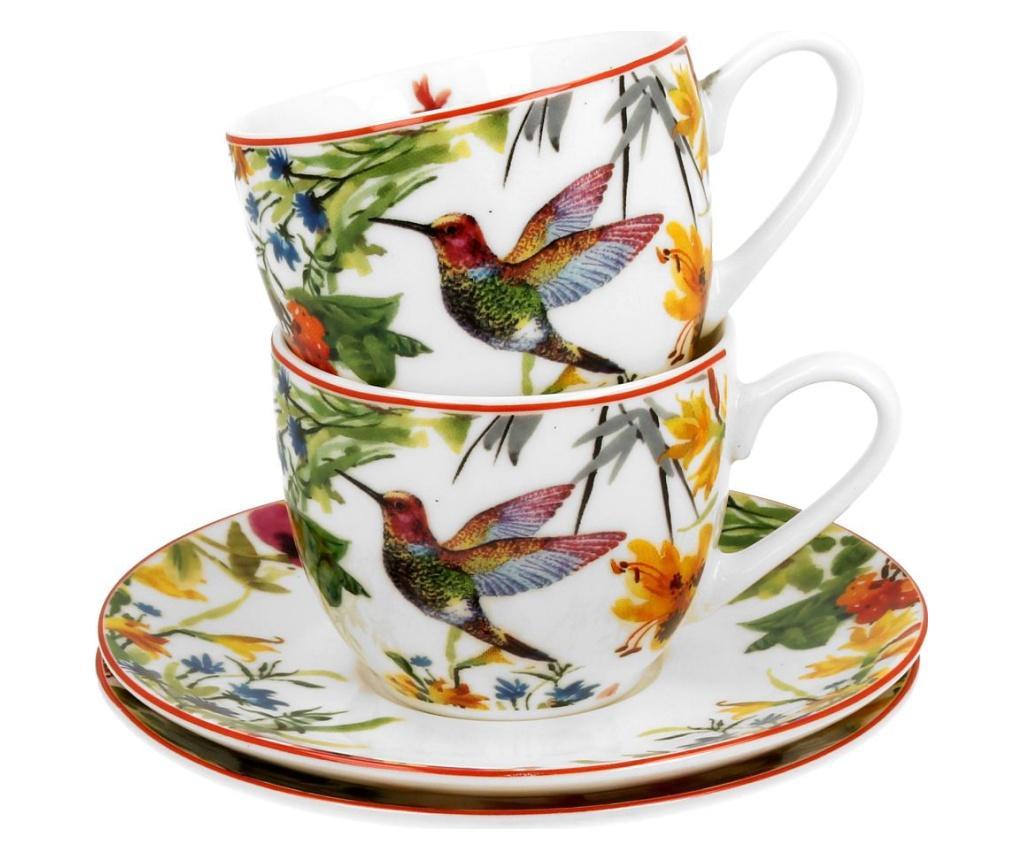 Set 2 cesti pentru espresso cu farfurioare Linnea 110 ml - DUO, Multicolor imagine