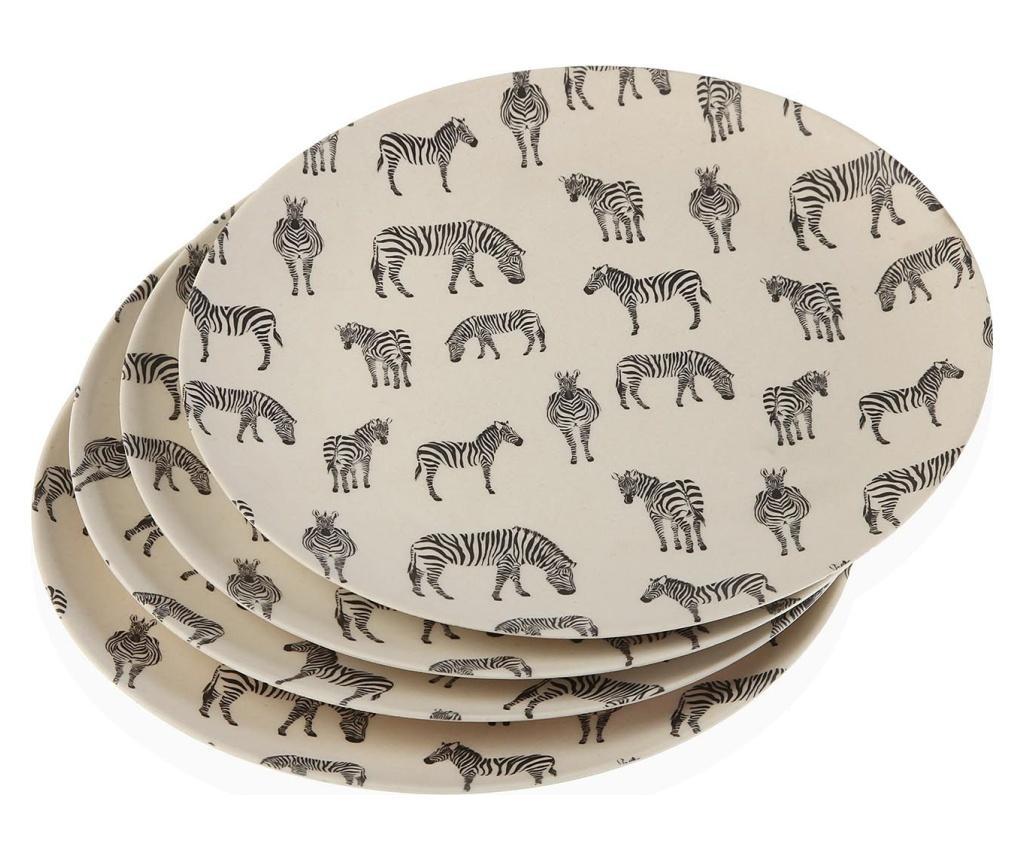 Set 4 farfurii intinse Zebra - Versa, Negru
