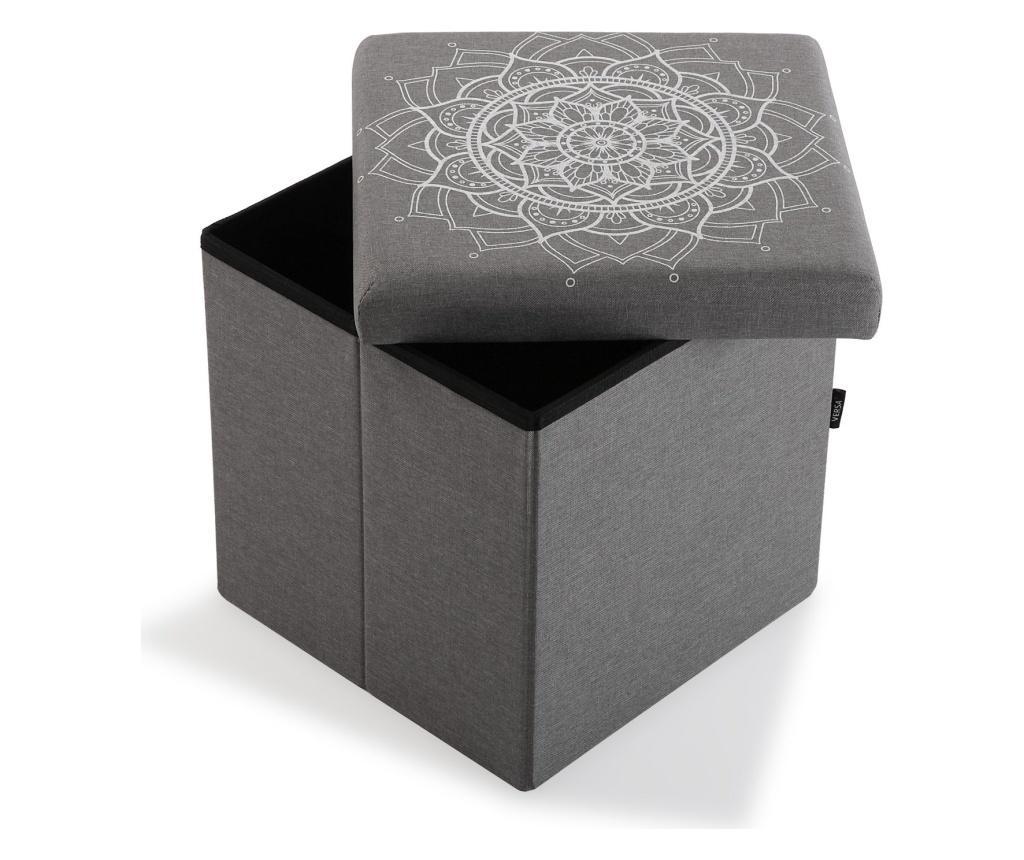 Taburet cu spatiu de depozitare Mandala - Versa, Gri & Argintiu