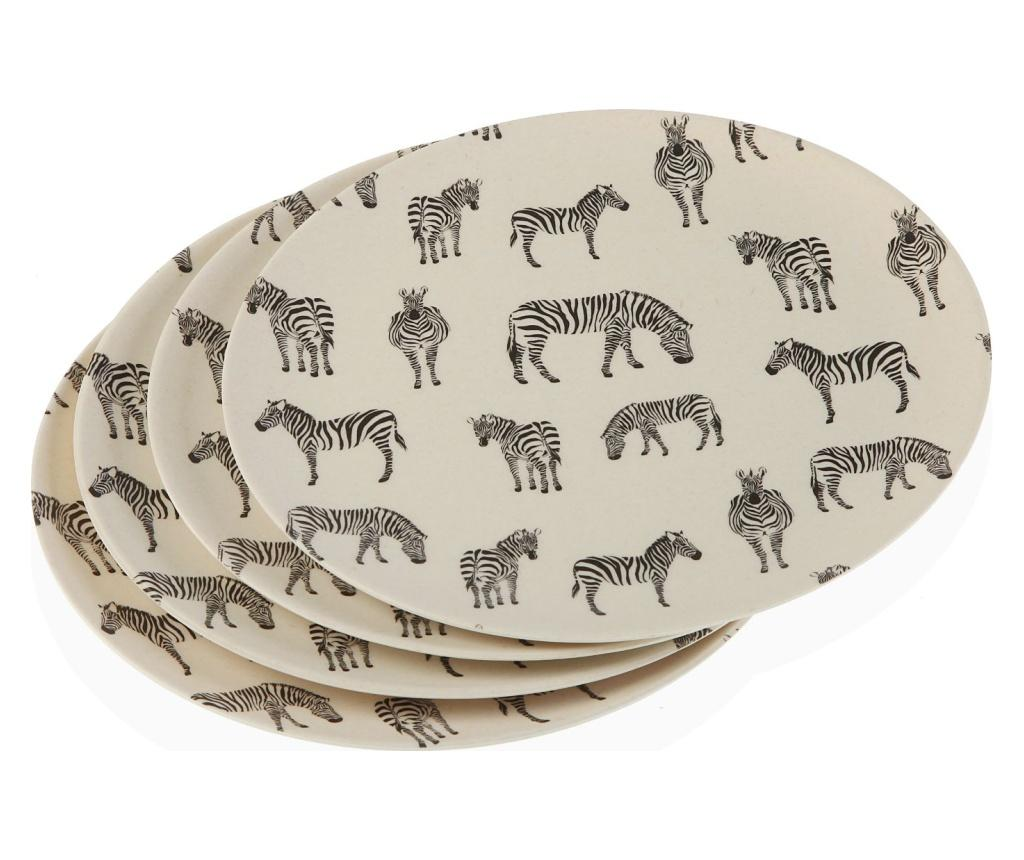 Set 4 farfurii intinse Zebra - Versa, Negru poza
