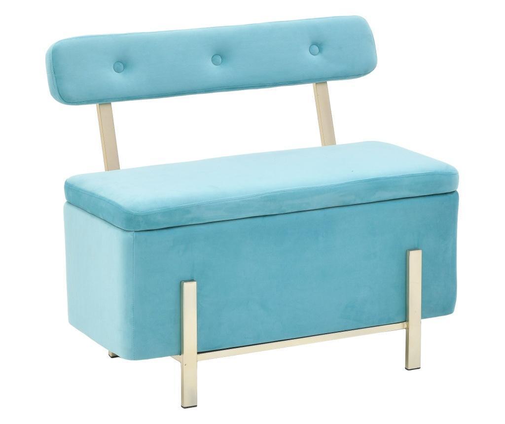 Bancheta cu spatiu pentru depozitare Velvet Blue - inart, Albastru imagine