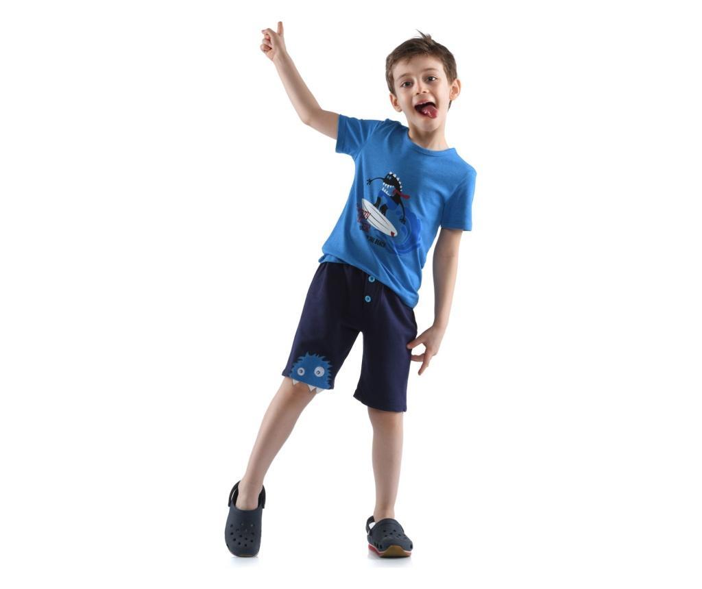 Set tricou si pantaloni scurti baieti 7 years - Cute & Crazy, Albastru imagine