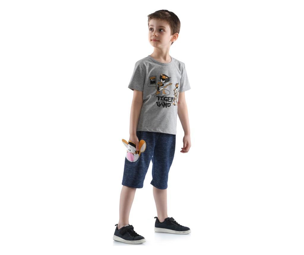 Set tricou si pantaloni scurti baieti 5 years - Cute & Crazy, Albastru imagine