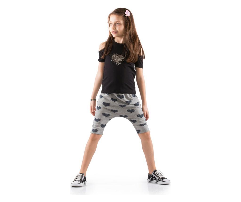 Set pantaloni trei sferturi si tricou 7 ani - Cute & Crazy, Negru