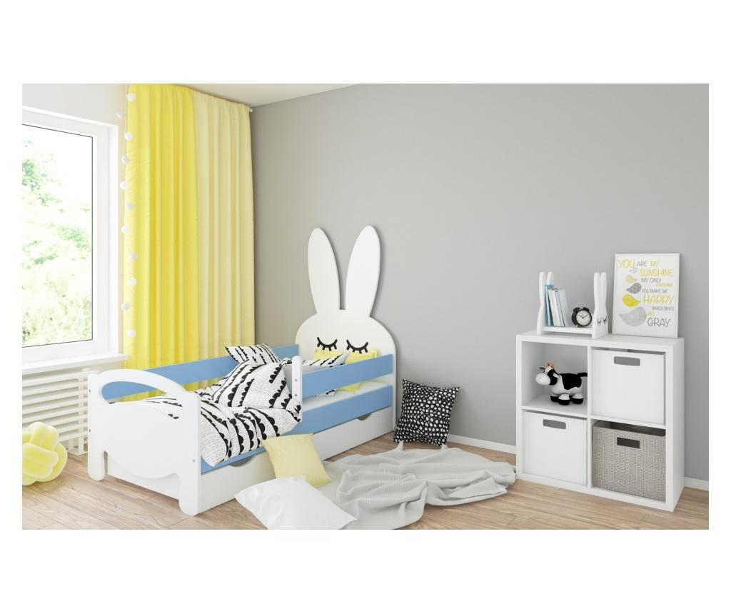 Pat pentru copii Kanin 70x140 cm, Kiki Design, structura din lemn pin, albastru - Kiki Design, Albastru - 1
