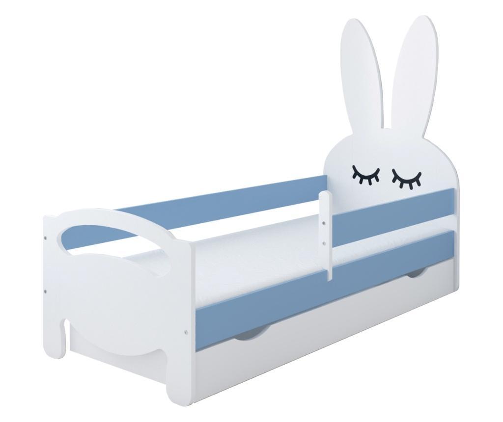 Pat pentru copii Kanin 70x140 cm, Kiki Design, structura din lemn pin, albastru - Kiki Design, Albastru