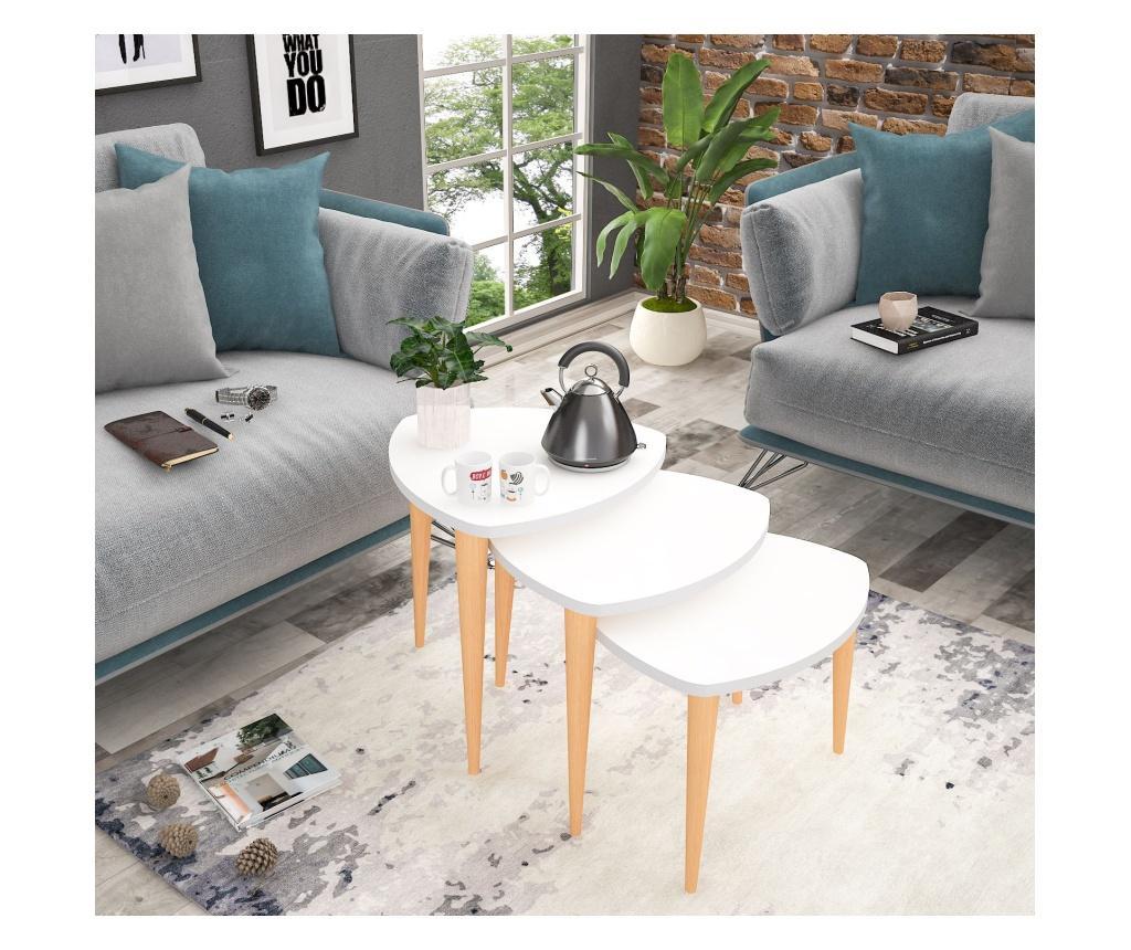 Set 3 masute de cafea - Oyo Concept, Alb