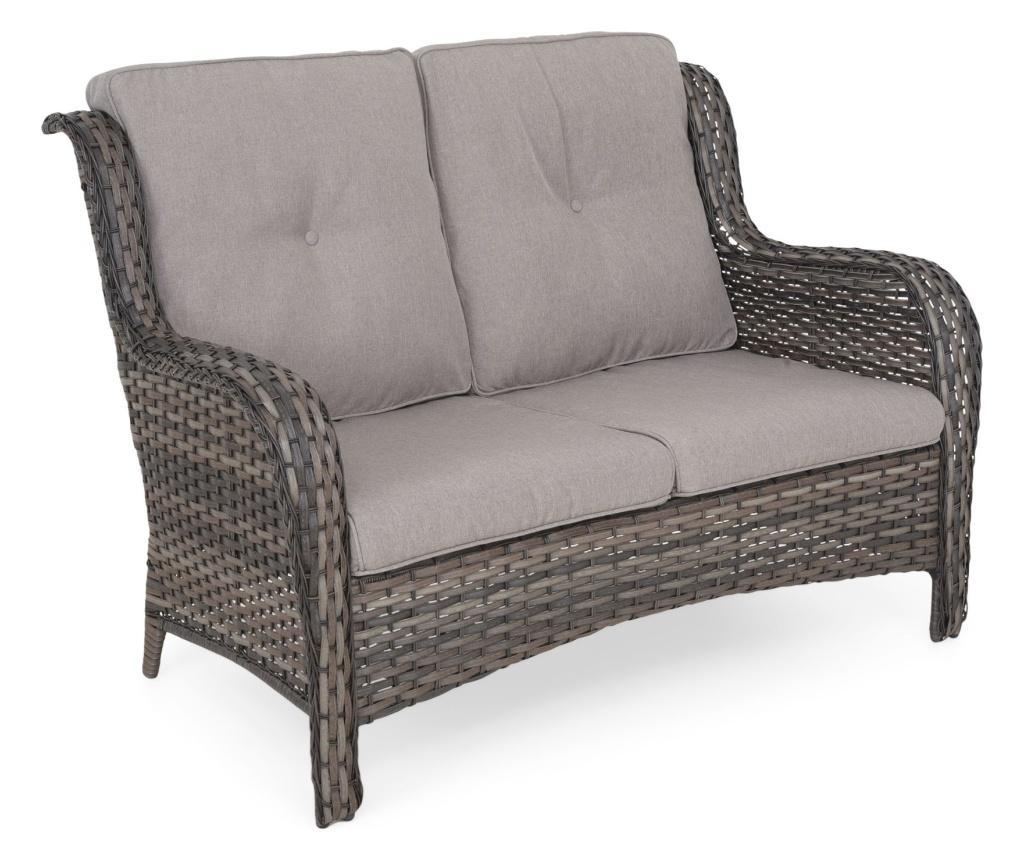 Canapea 2 locuri pentru gradina Belham - Maison Mex, Gri & Argintiu vivre.ro
