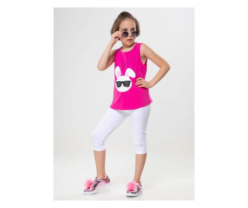 Set tricou si colanti Cool Bunny 7 ani - ZenoKido, Alb