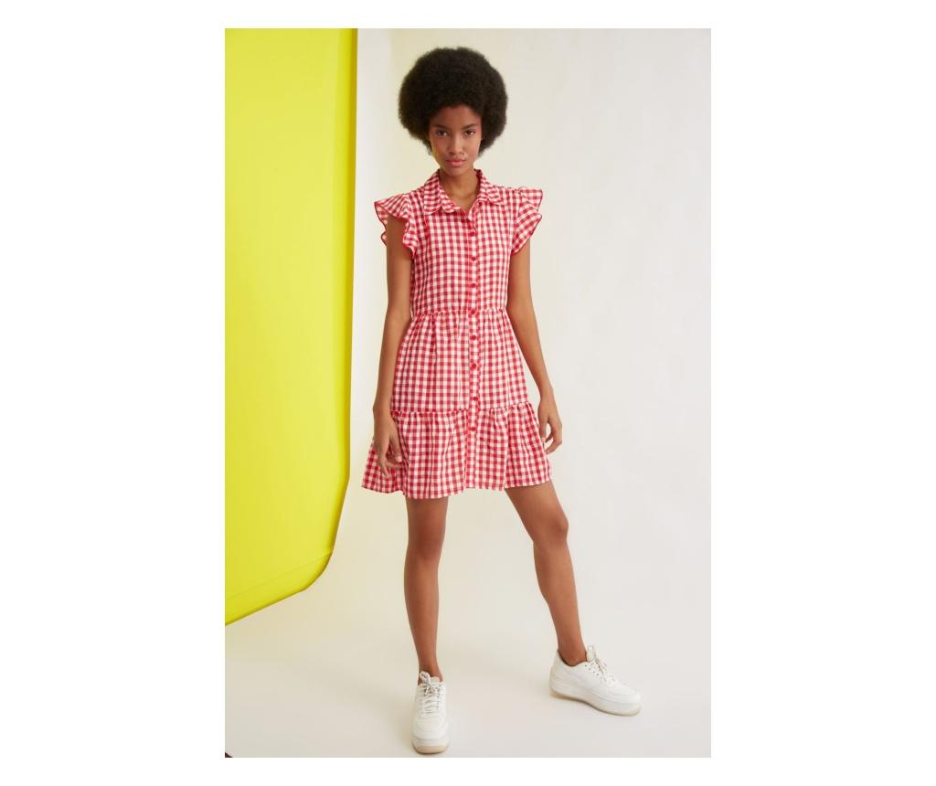 Rochie scurta dama Checkered Button M, Trendyol, rosie - Trendyol, Rosu