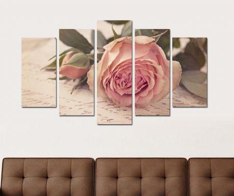 Set 5 tablouri Rose Letter