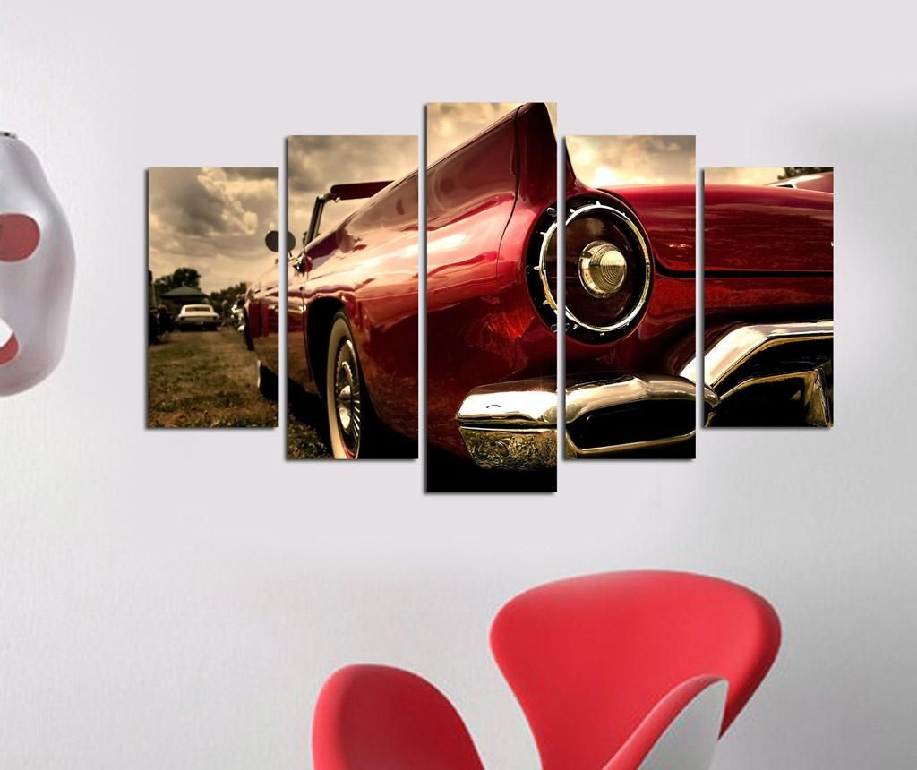 Set 5 tablouri Red Car