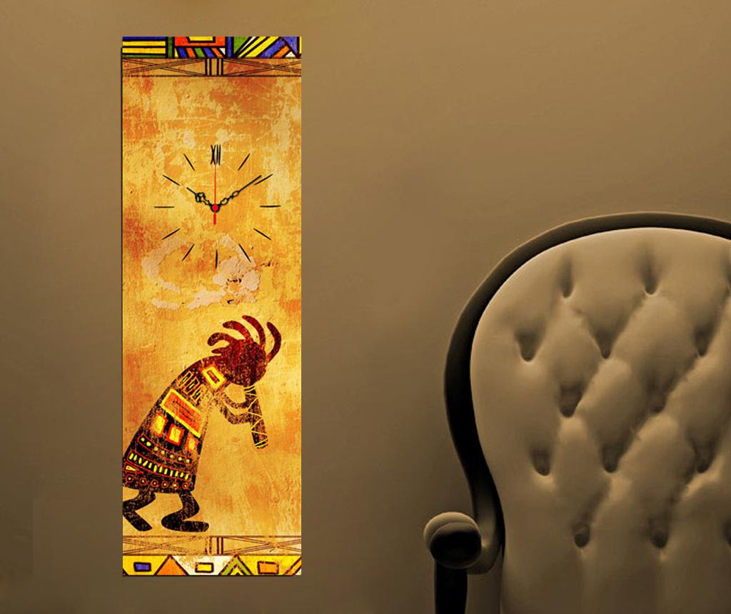 Tablou cu ceas Indian 30x90 cm - Clock Art, Galben & Auriu de la Clock Art
