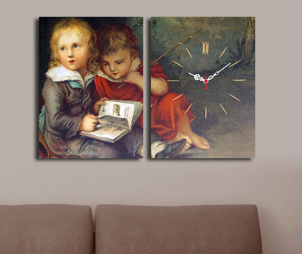 Set 2 tablouri cu ceas Children 30x40 cm - Clock Art, Gri & Argintiu de la Clock Art
