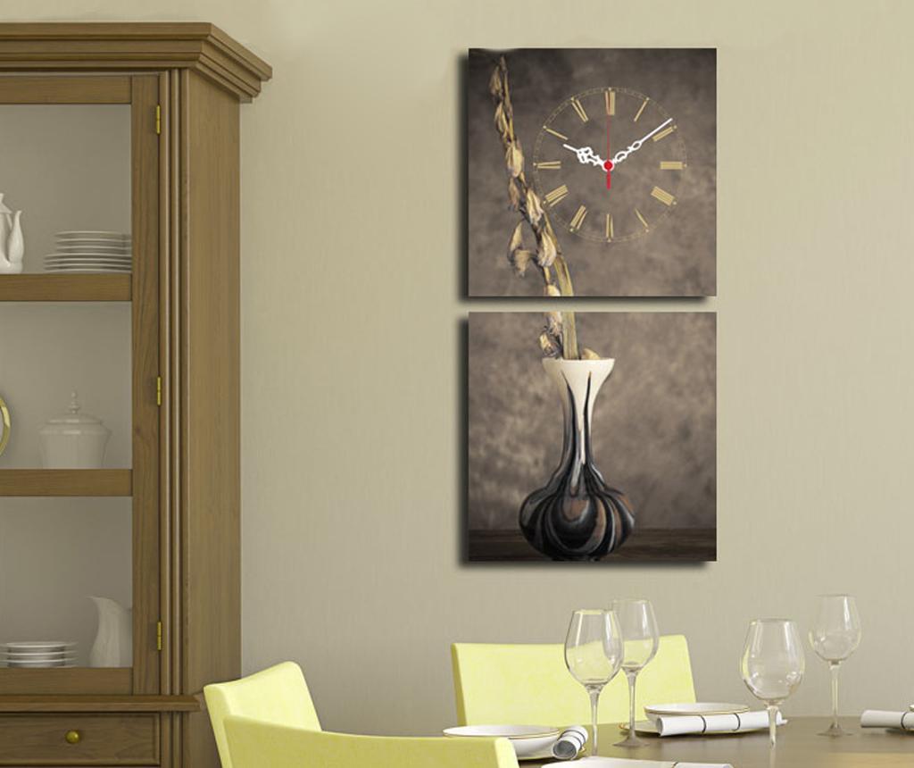 Set 2 tablouri cu ceas Vase 28x28 cm - Clock Art, Gri & Argintiu
