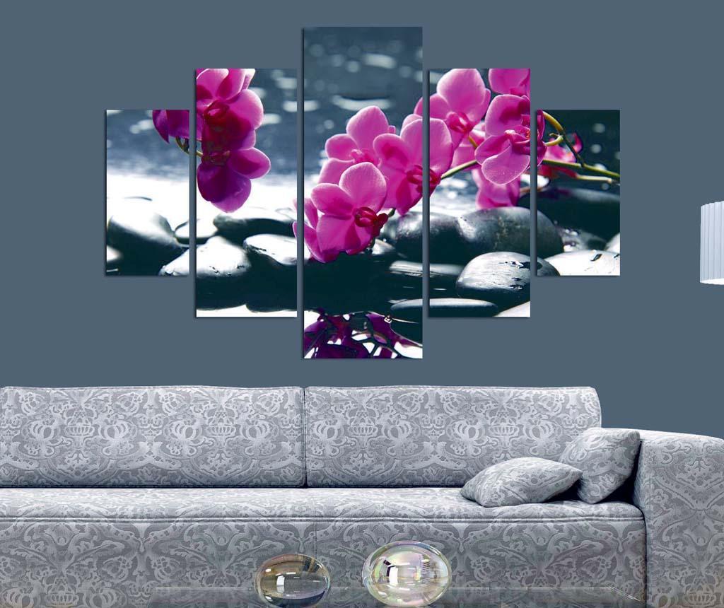 Set 5 tablouri Pink Orchid
