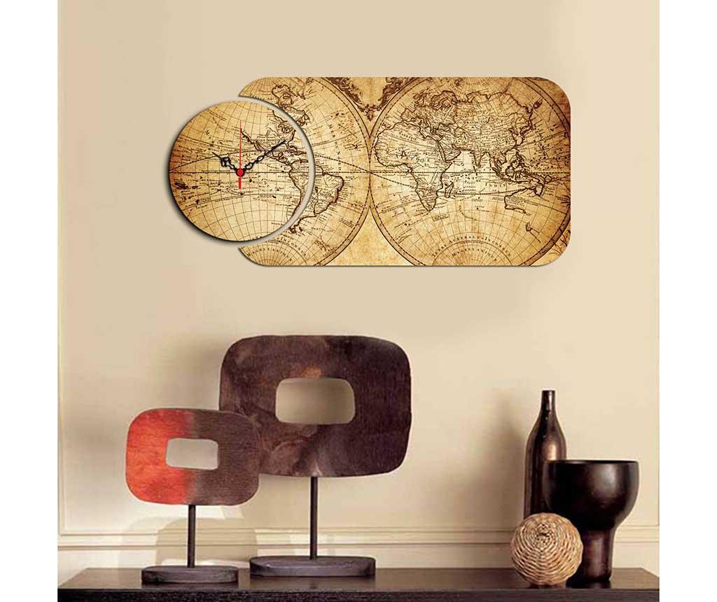 Tablou cu ceas Old Map 32x68 cm - Home Art, Galben & Auriu de la Home Art