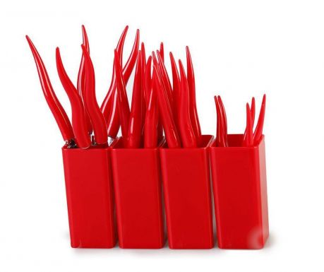 Set of 24 cutlery pieces and 4 holders Tullio Red