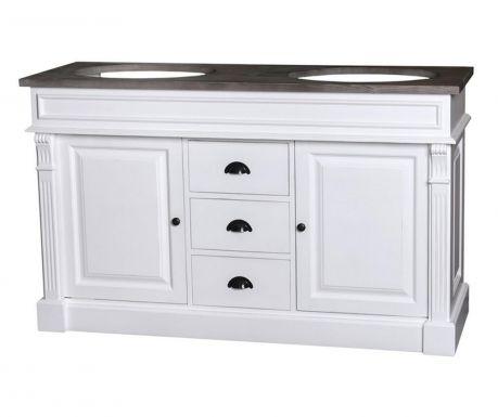 Комплект шкаф с 2 умивалника Column White