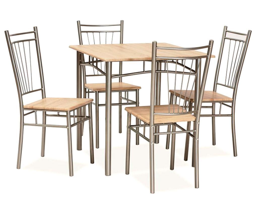 Set masa si 4 scaune Fits - Signal, Crem