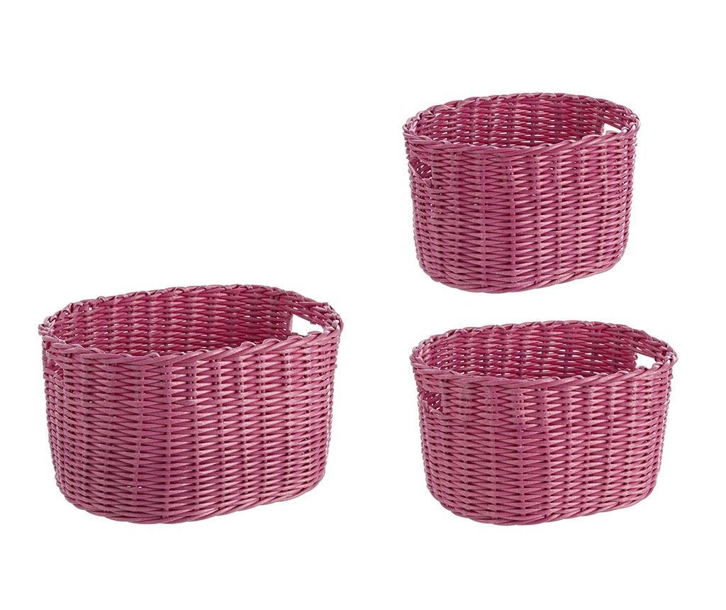 Set 3 cosuri pentru depozitare Arlene Oval Pink - Bizzotto, Roz