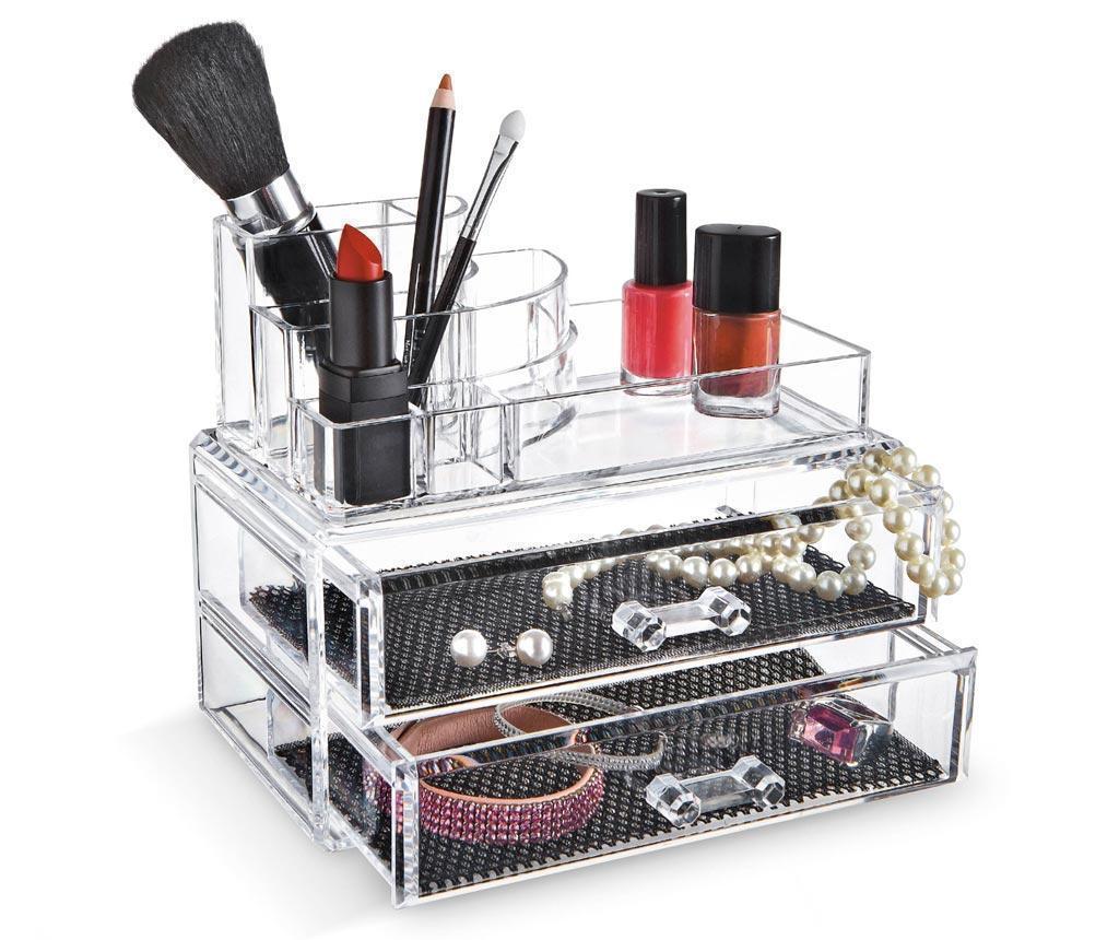 Organizator pentru cosmetice Fashion - Domopak Living, Alb,Gri & Argintiu