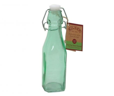 Kilner Clip Square Green Üvegpalack  hermetikus  dugóval 250 ml