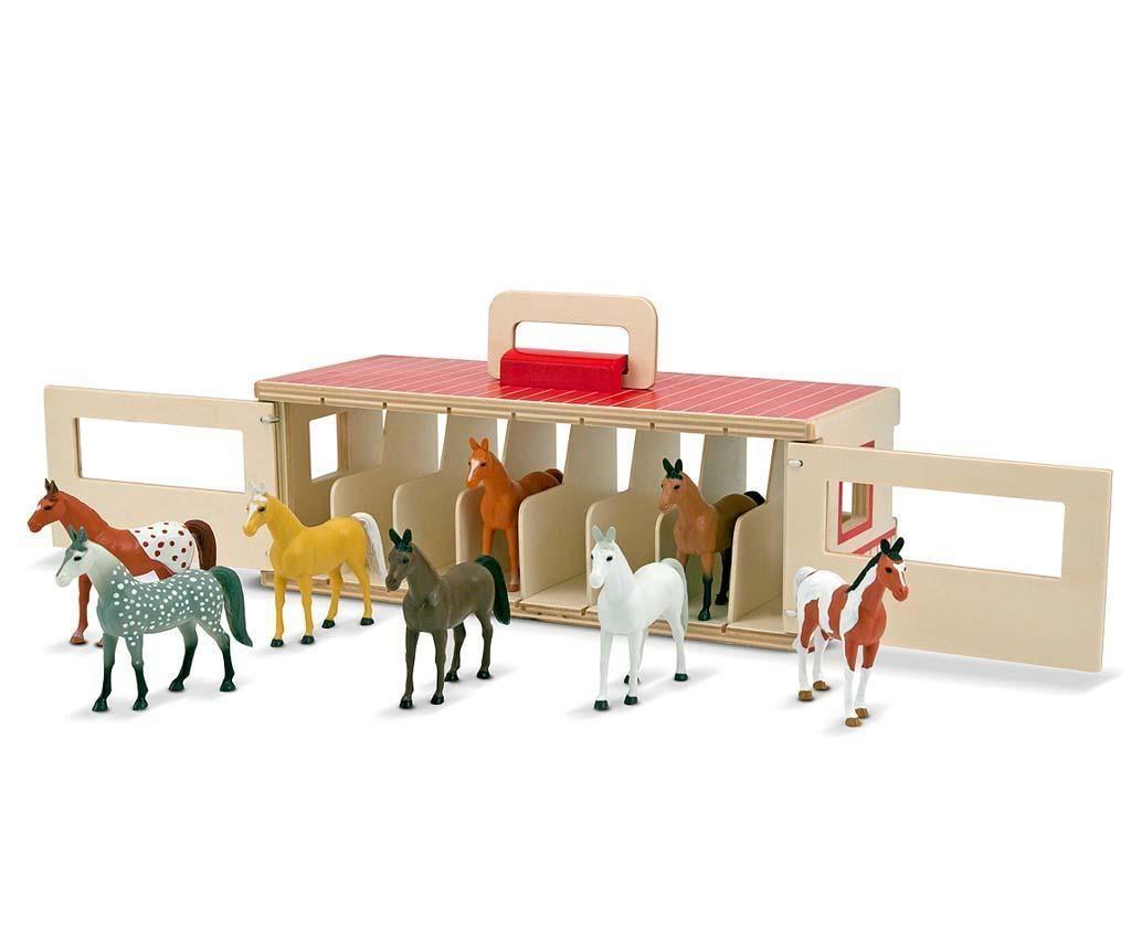Set 8 konjev in hlev Racing