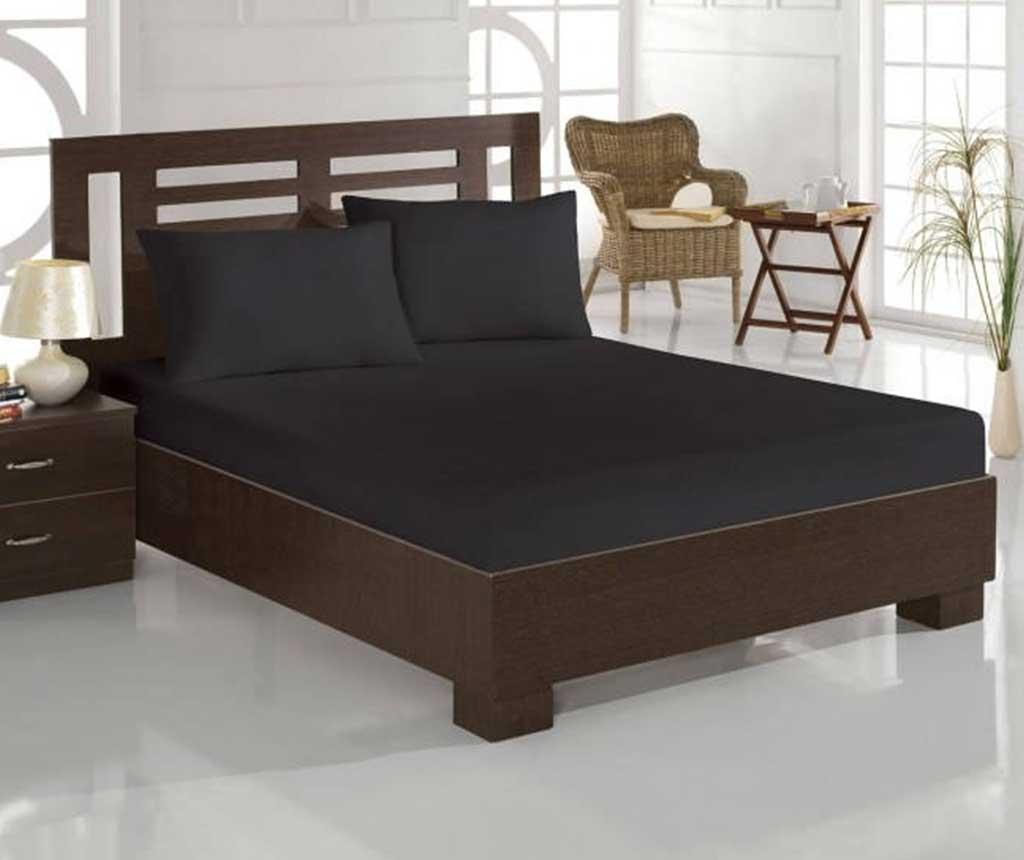 Set cearsaf de pat cu elastic si 2 fete de perna Double Boya Black - Eponj Home, Negru