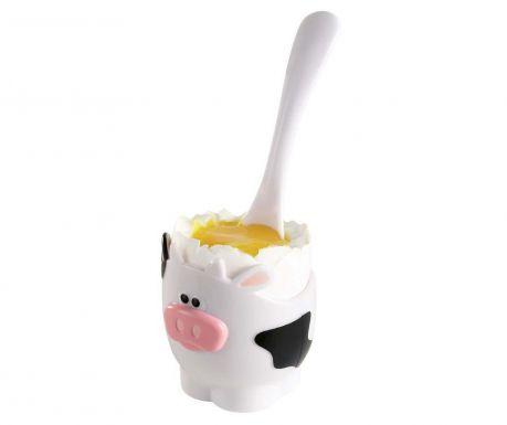 Držač za kuhano jaje i žličica Moo Moo The Cow