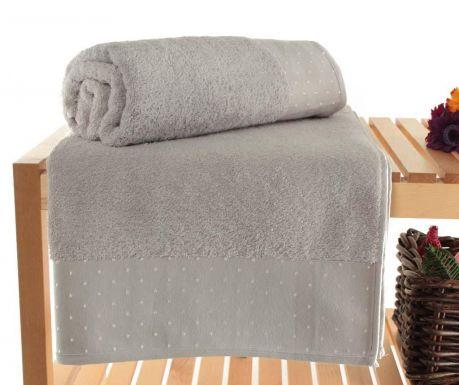 Zestaw 2 ręczników kąpielowych Polka Dots Light Grey 90x150 cm