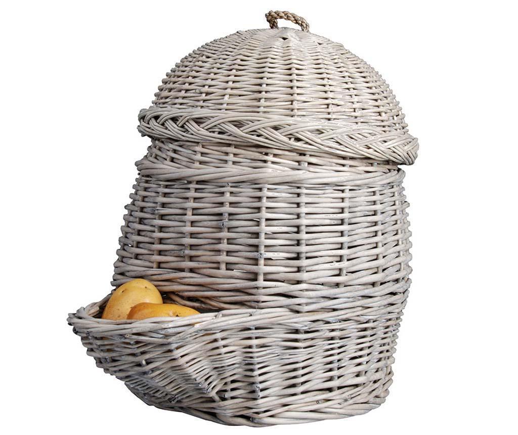 Cos cu capac Potato - Esschert Design, Gri & Argintiu