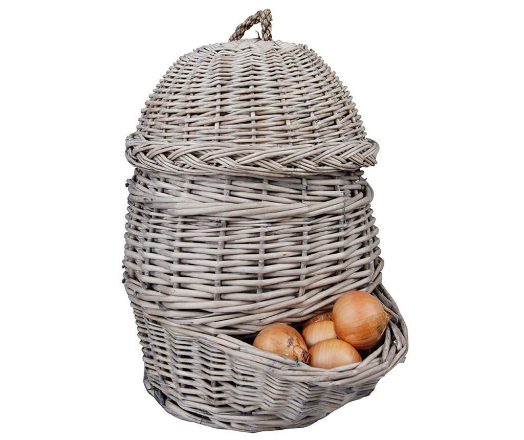 Cos cu capac Onion - Esschert Design, Gri & Argintiu