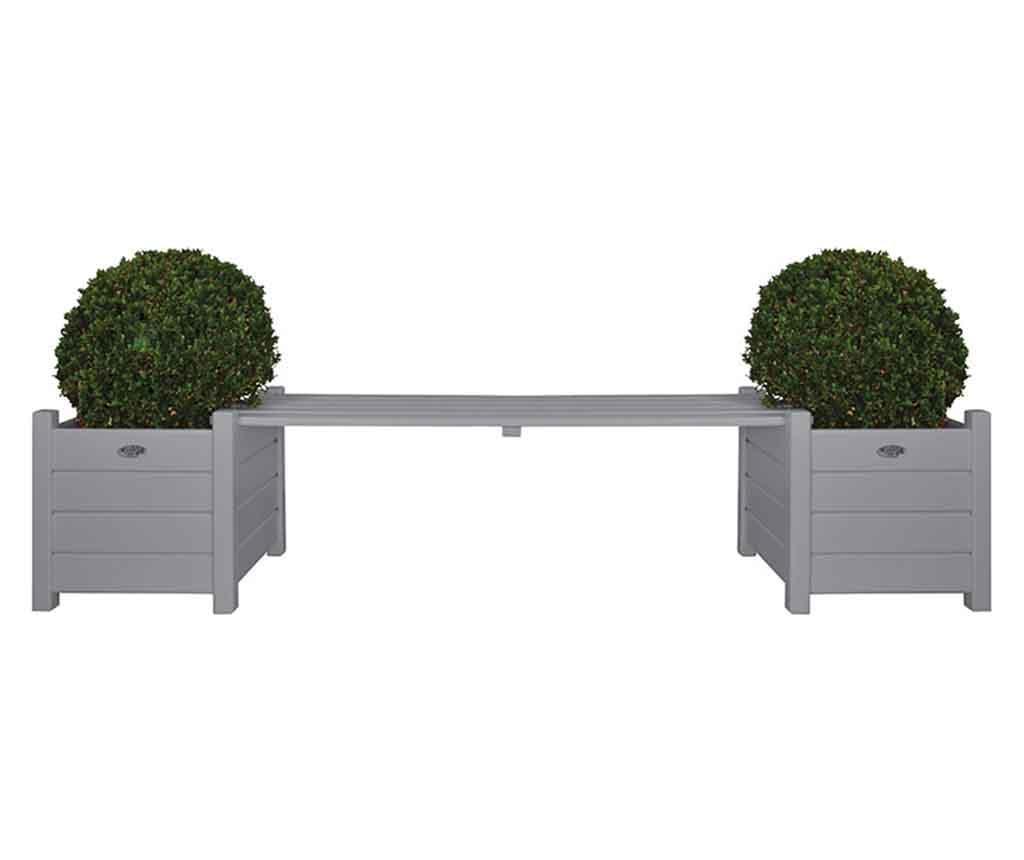 Banca pentru exterior London Grey - Esschert Design, Gri & Argintiu