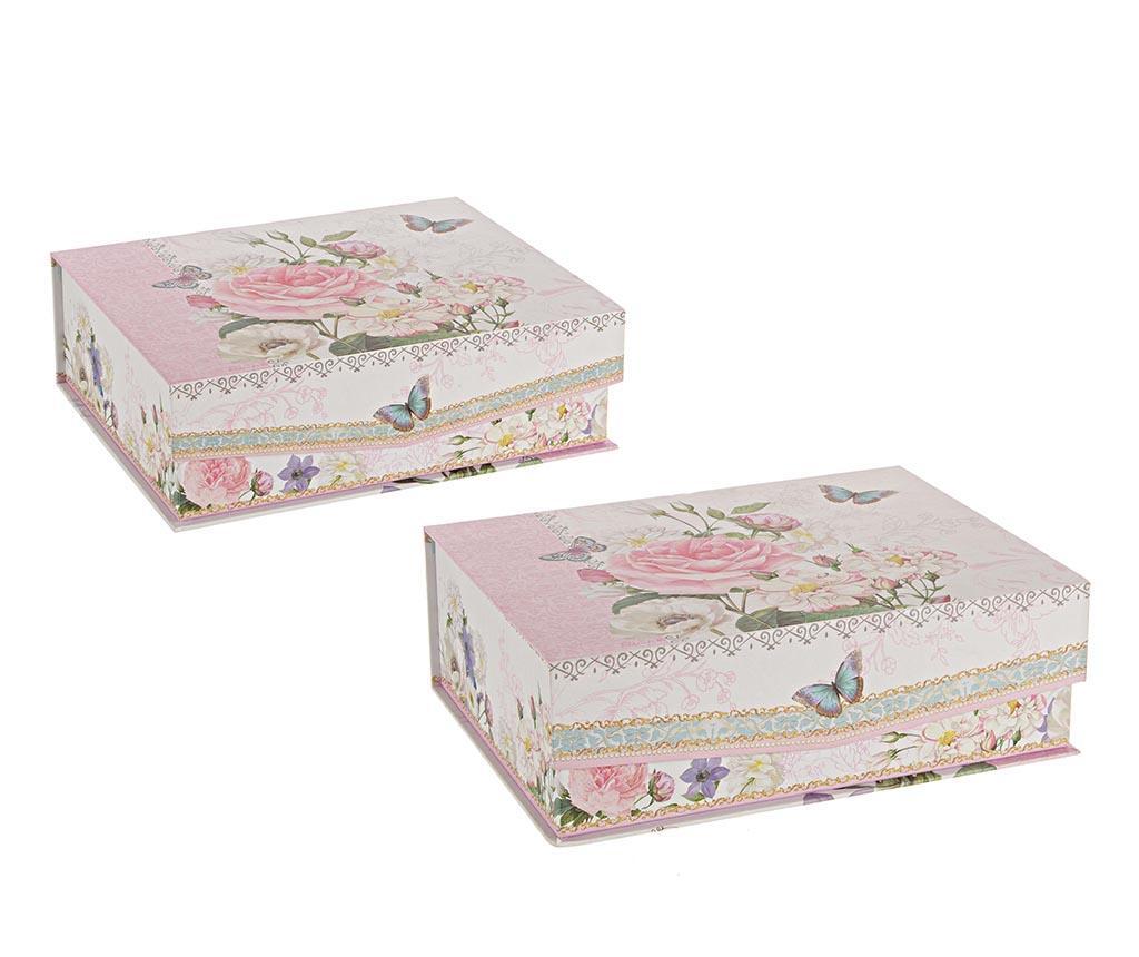 Set 2 cutii cu capac Soft Colors - Bizzotto, Multicolor