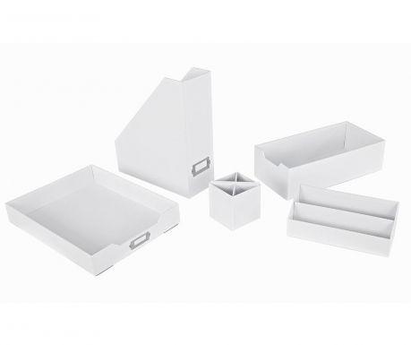 5-dijelni set za organiziranje uredskog pribora Opaco White