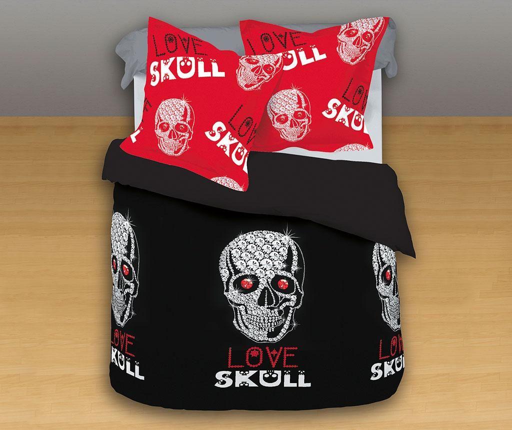Lenjerie de pat Single Ranforce Love Skull