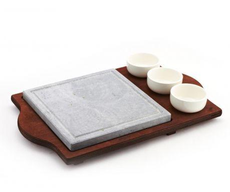Комплект каменна плоча за готвене и 3 купи за сос Pure and Natural