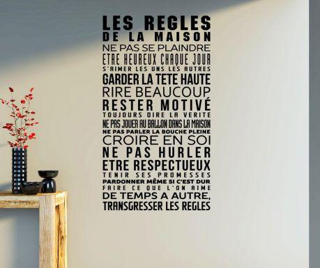 Samolepka na stenu Les regles de la maison