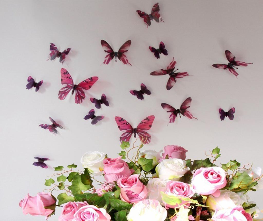 Set 18 stickere 3D Streak Butterfly Rose
