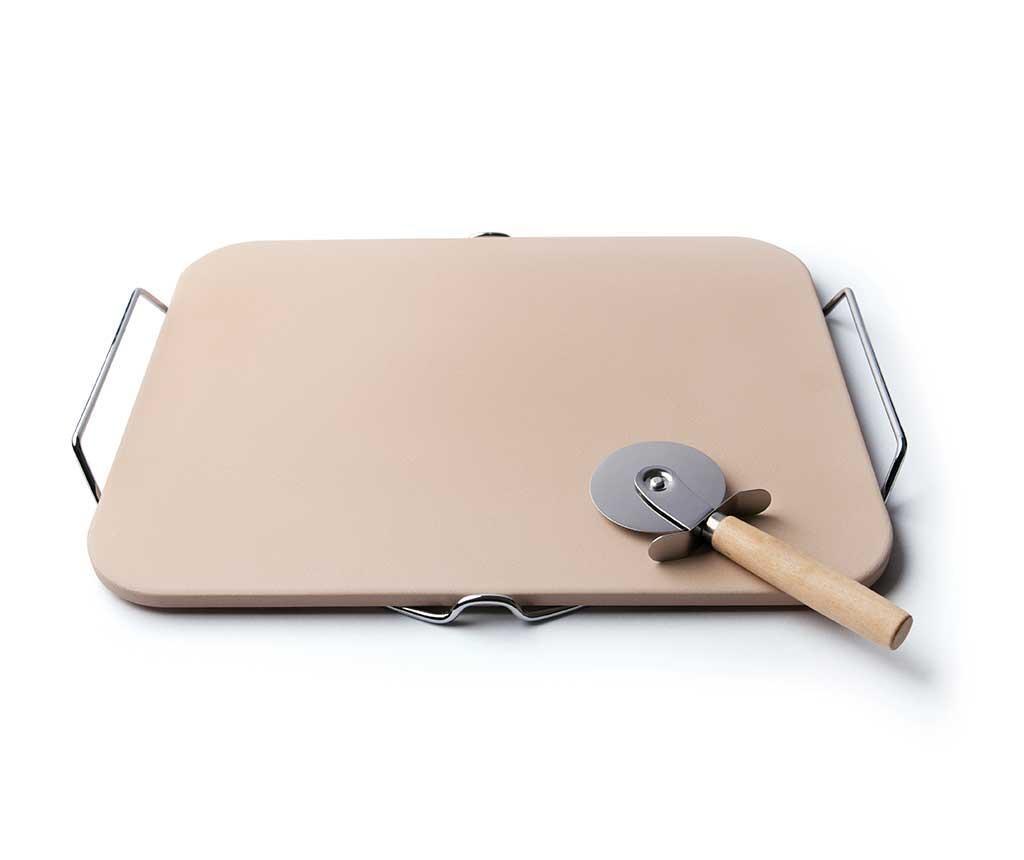 Комплект плато с поставка и нож за пица Natural