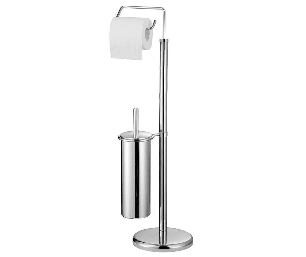 Suport pentru hartie igienica si perie de toaleta Elliot - Premier, Gri & Argintiu
