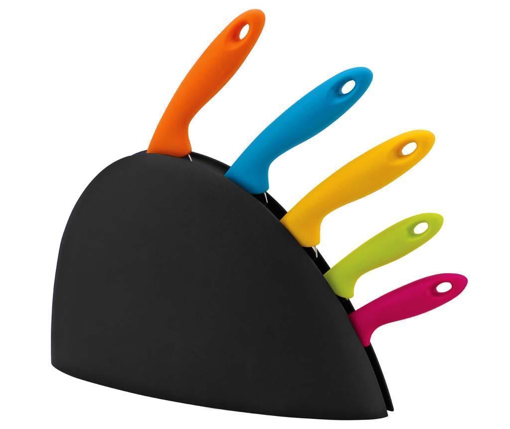 Set suport cu 5 cutite Colour Fan - Premier
